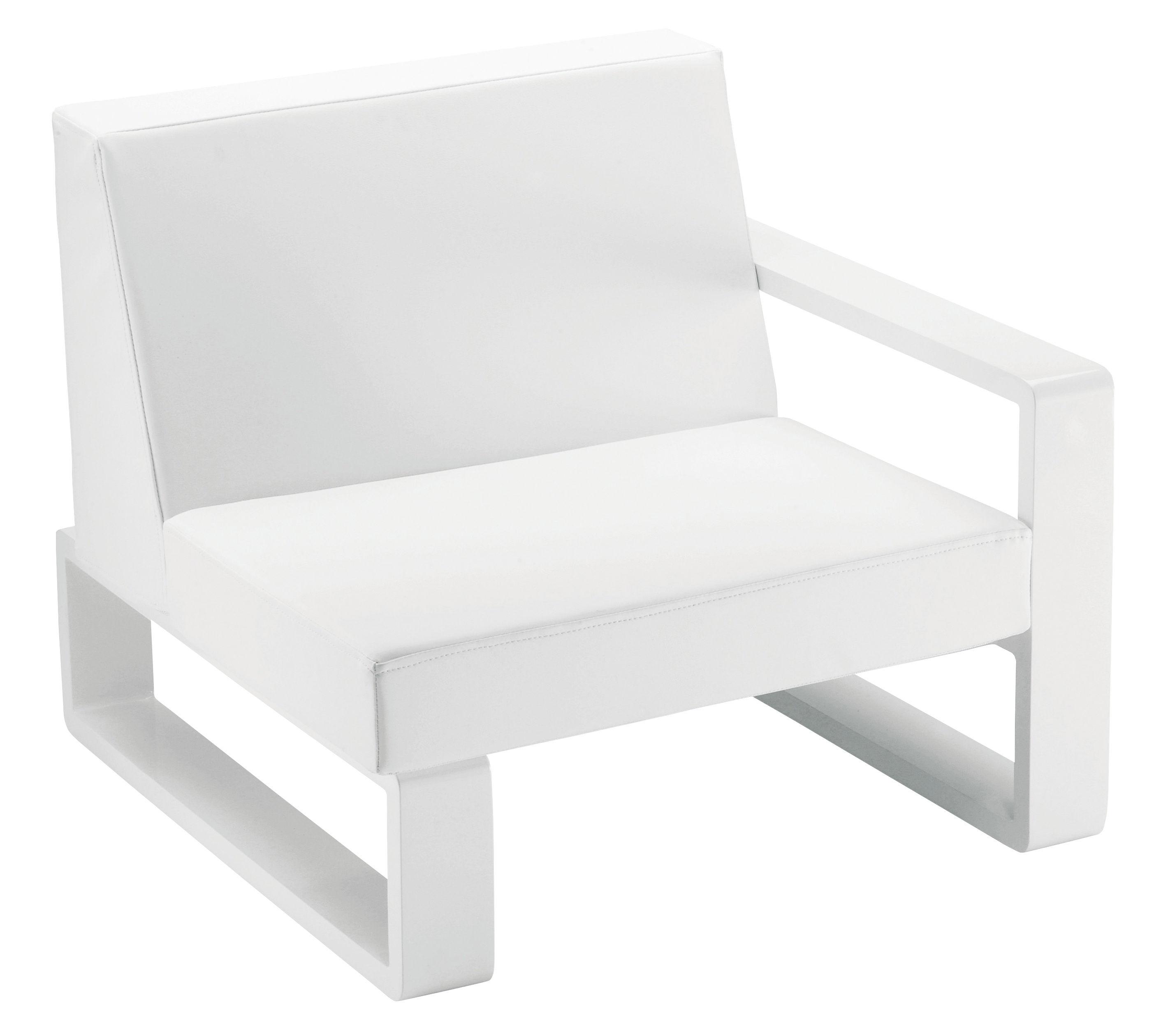 Outdoor - Poltrone e Divani - Poltrona imbottita Kama di EGO Paris - Vinile bianco / Struttura argento - Alluminio laccato, Vinile
