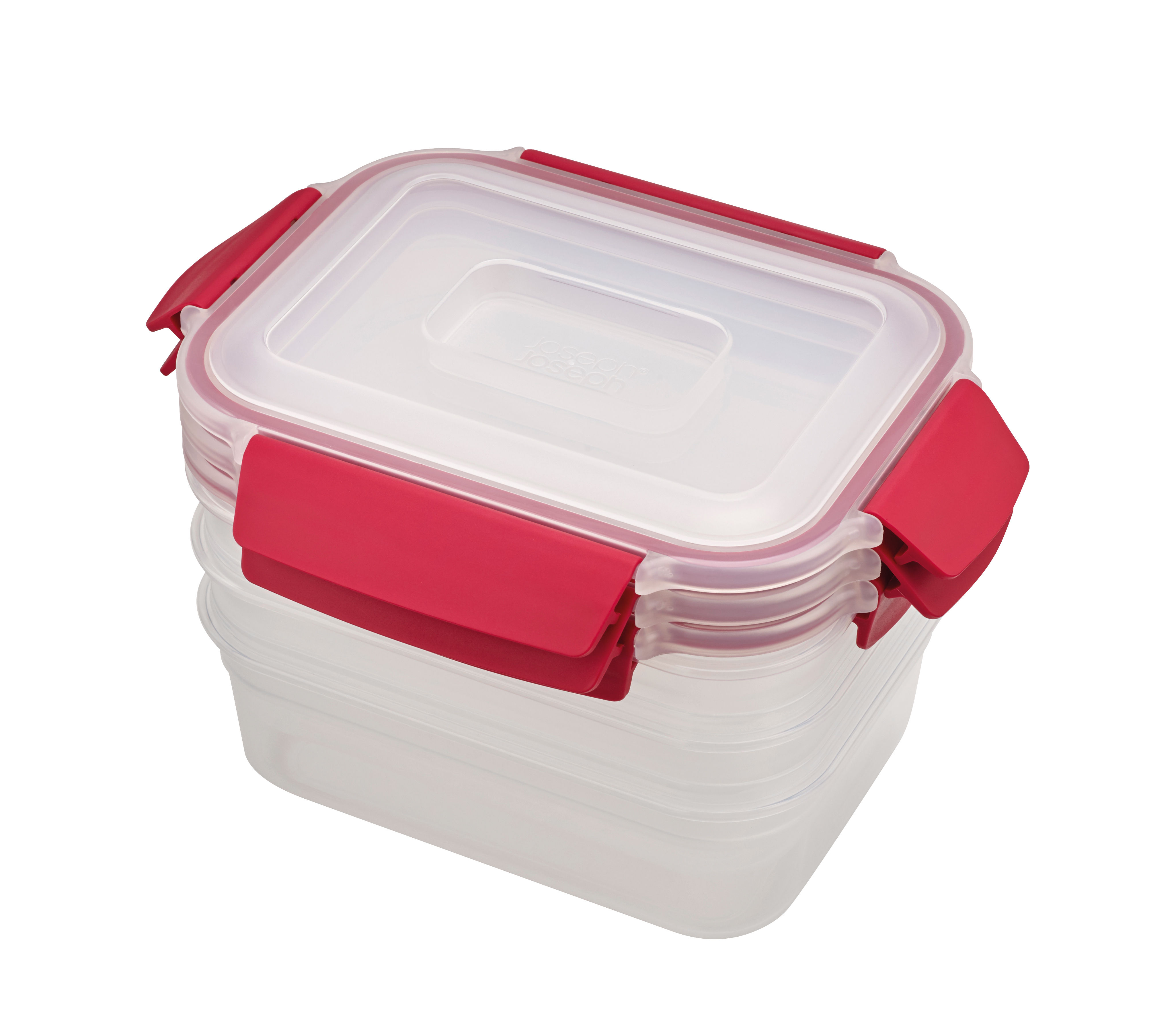 Kitchenware - Kitchen Storage Jars - Nest Lock Preservation boxes - / Stackable set of 3 - 3 X 1.1 L by Joseph Joseph - 3 x 1.1 L / Red - BPA-free plastic