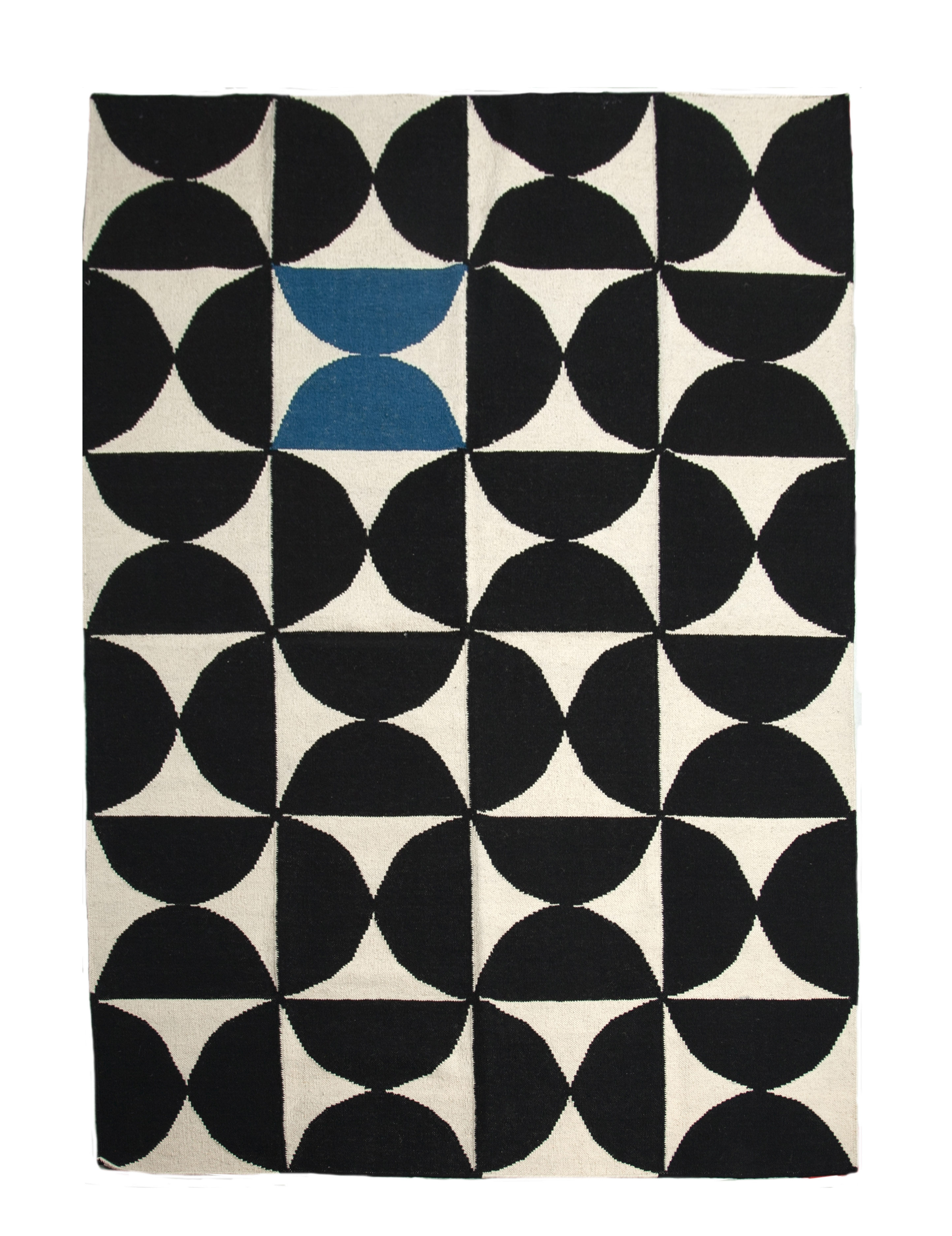 Decoration - Rugs - Alpha Rug - Kilim / 170 x 240 cm by Sentou Edition - Blue / Black & white - Cotton, Wool