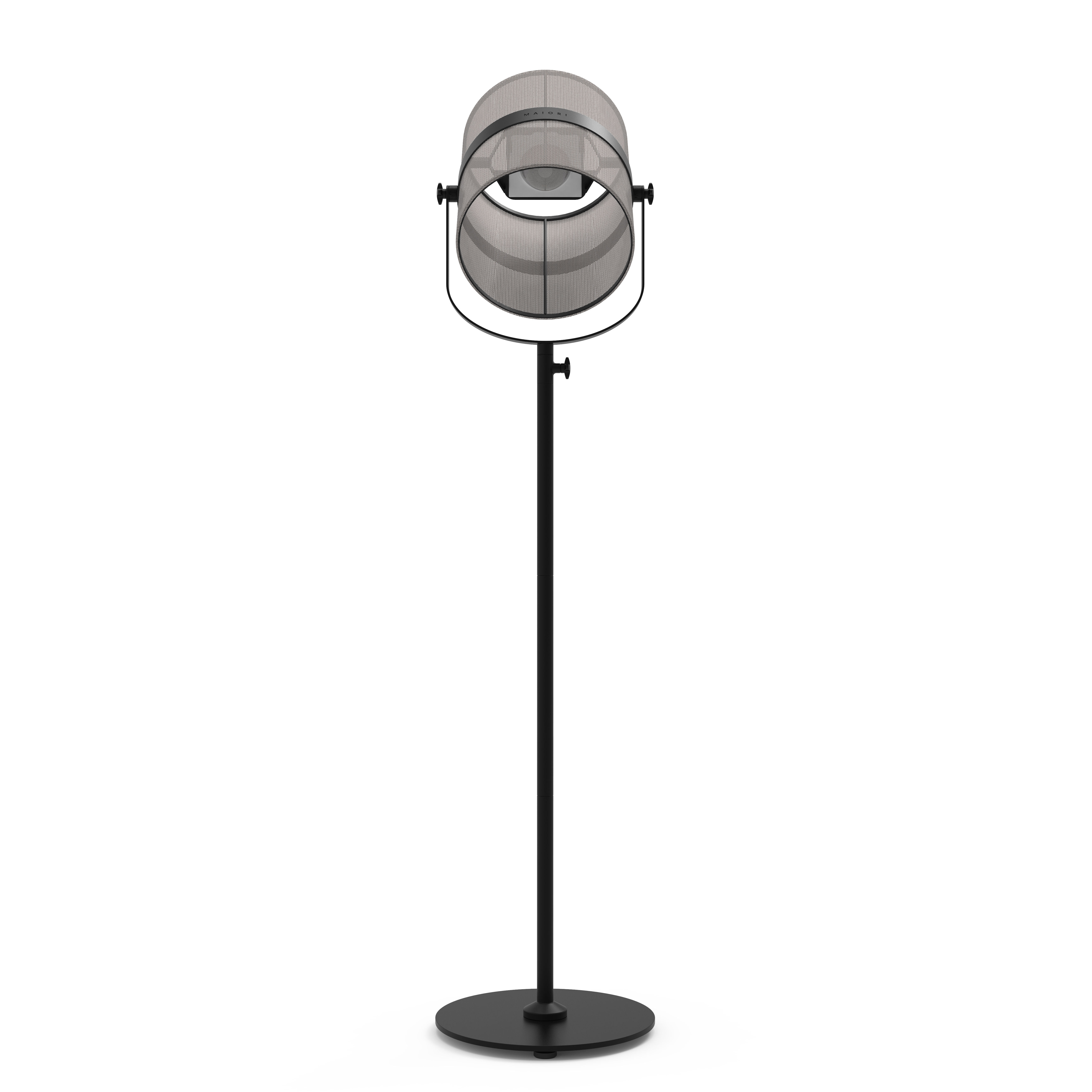 Leuchten - Stehleuchten - La Lampe Paris LED Solarleuchte / kabellos - Maiori - Helles Taupe / Ständer schwarz - bemaltes Aluminium, Gewebe