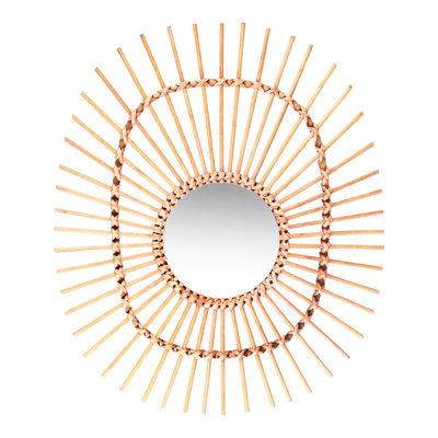 Interni - Specchi - Specchio Bamboo Oval / Rattan - Ø 50 cm - & klevering - Ovale / Naturale - Midollino, Vetro