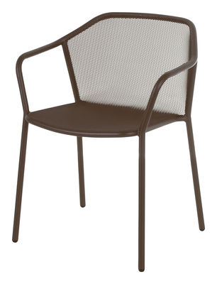 Möbel - Stühle  - Darwin Stapelbarer Sessel / Metall - Emu - Kastanie - gefirnister Stahl