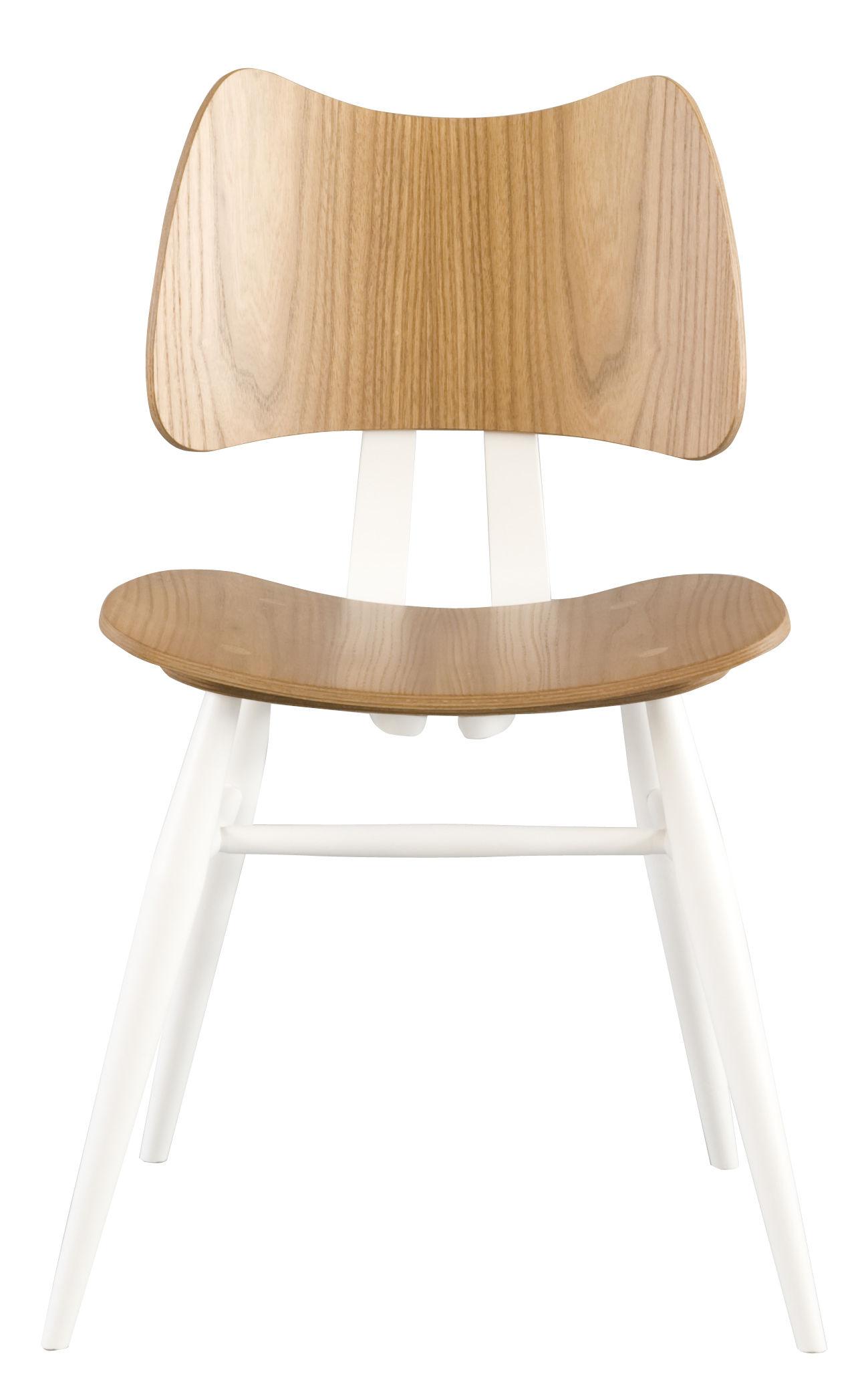 Möbel - Stühle  - Butterfly Stuhl / Holz - Neuauflage des Originals aus dem Jahr 1958 - Ercol - Weiß & holzfarben - Contreplaqué de orme, massive Buche