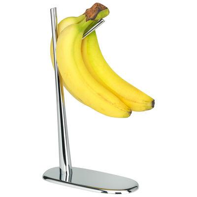 Tavola - Cesti, Fruttiere e Centrotavola - Supporto Dear Charlie - / Per banane di Alessi - Cromato - Zamak