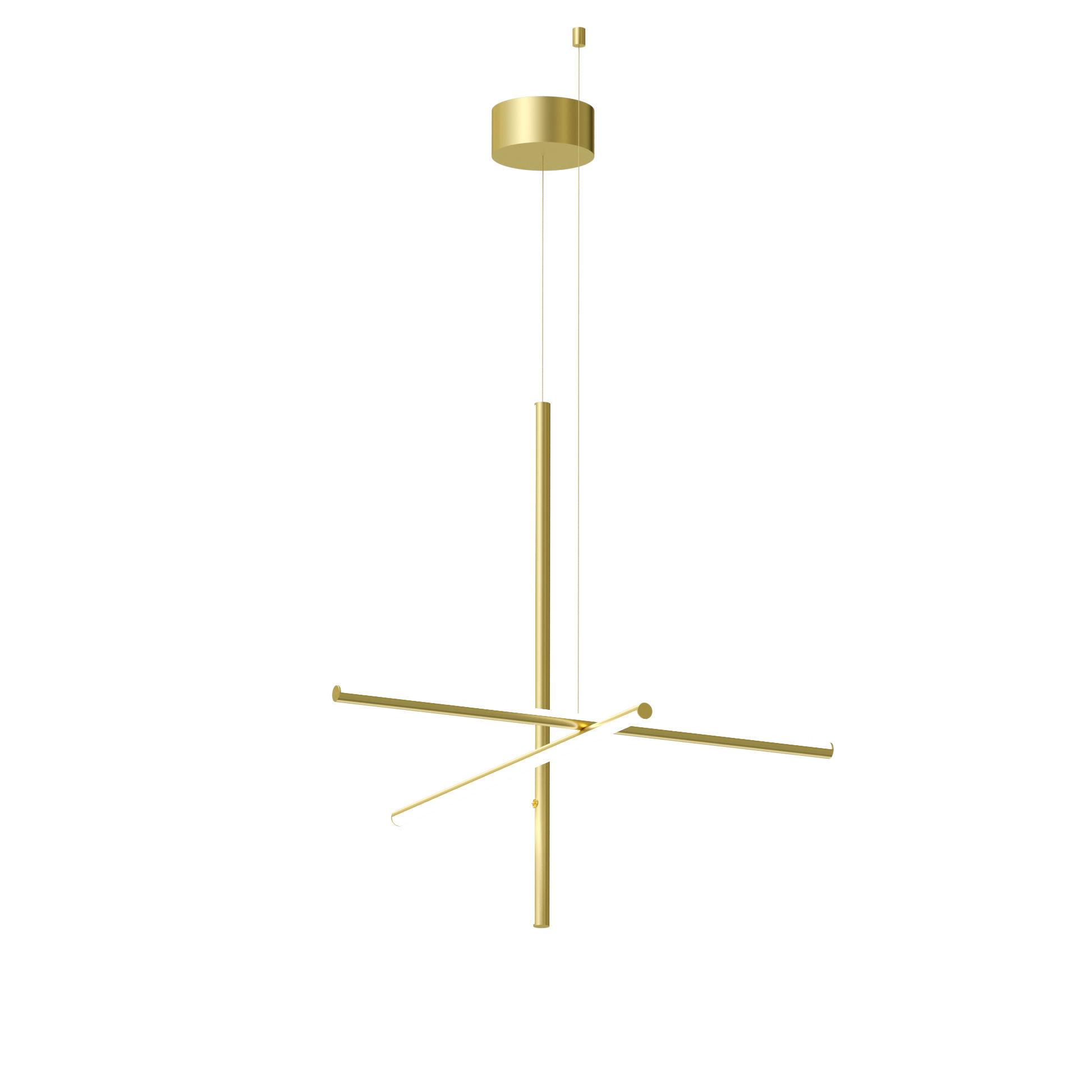 Luminaire - Suspensions - Suspension Coordinates  S1 LED/ L 78 x H 78 cm - Flos - Champagne anodisé - Aluminium extrudé
