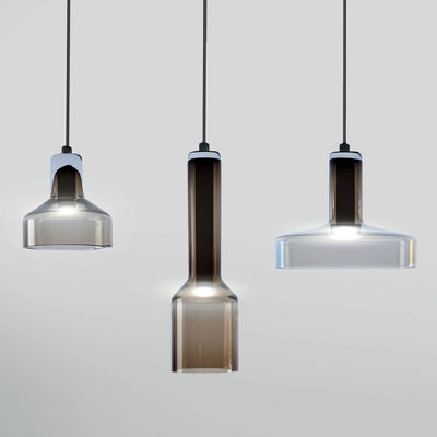 Suspension Stab Light Triple / Set 3 suspensions - Verre artisanal - Danese Light marron en verre
