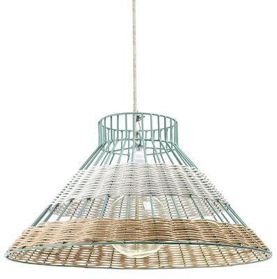 Luminaire - Suspensions - Suspension Straw / Rotin - Ø 50 x H 26 cm - Serax - Blanc & rotin / Structure bleue - Métal, Rotin