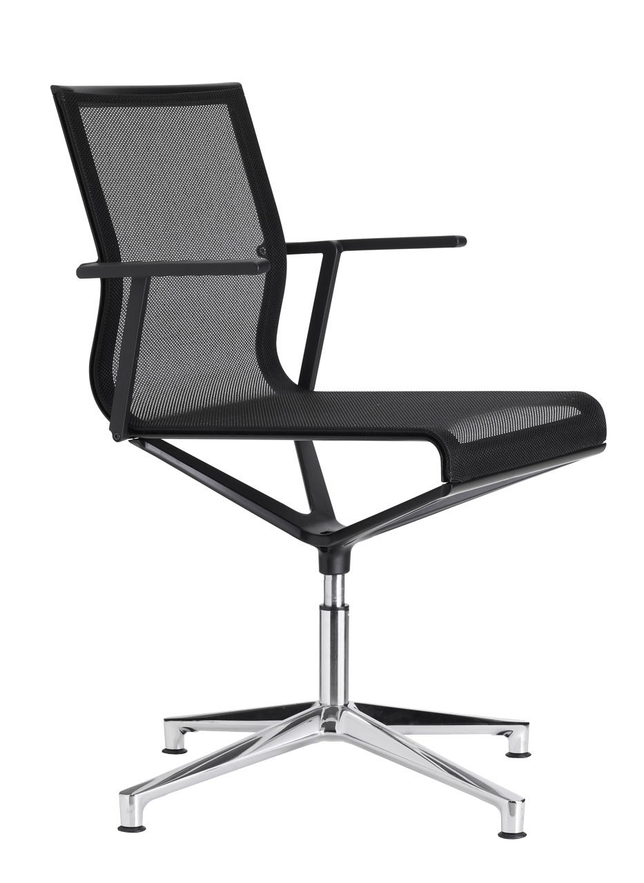 Furniture - Office Chairs - Stick Chair Swivel armchair - 4 legs by ICF - Black mesh / Polished aluminium base / Black lacquered structure - Aluminium, Fabric, Thermoplastic