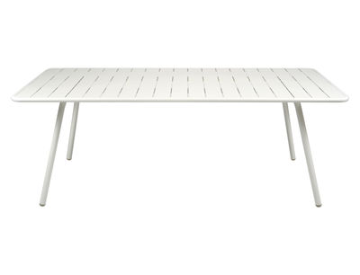 Table rectangulaire Luxembourg / 8 personnes - 207 x 100 cm - Aluminium - Fermob blanc en métal