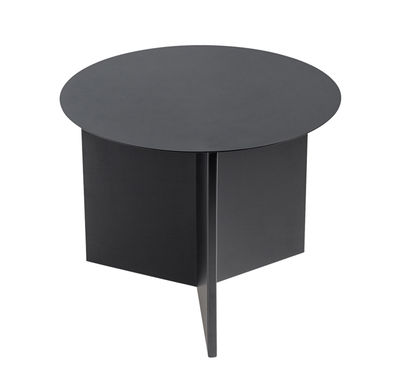 Arredamento - Tavolini  - Tavolino Slit Round / Ø 45 X H 35.5 cm - Hay - Nero - Acciaio laccato epossidico