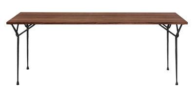 Outdoor - Tavoli  - Tavolo rettangolare Officina Outdoor - / 200 x 90 cm - Piano in legno di Magis - Legno / Gambe nere - Ferro battuto verniciato, Frassino