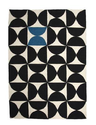 Alpha Teppich Kilim / 170 x 240 cm - Sentou Edition - Weiß,Blau,Schwarz