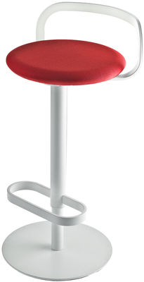 Furniture - Bar Stools - Mak Adjustable bar stool - Pivoting - Fabric padded seat by Lapalma - Red fabric seat / White frame - Fabric, Lacquered stainless steel