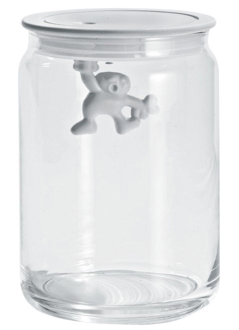 Tableware - Boxes and jars - Gianni a little man holding on tight Airtight jar - 90 cl by A di Alessi - White / 90 cl - Glass, Thermoplastic resin