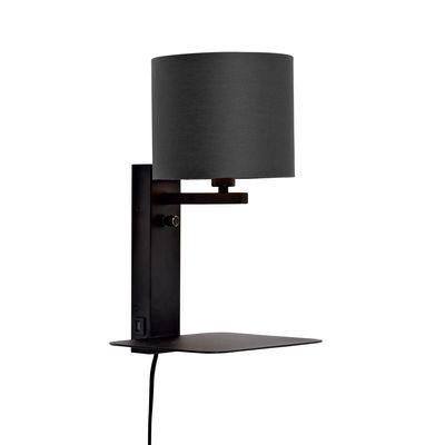 Luminaire - Appliques - Applique avec prise Florence / Abat-jour tissu - Etagère & port USB - It's about Romi - Noir - Coton, Fer