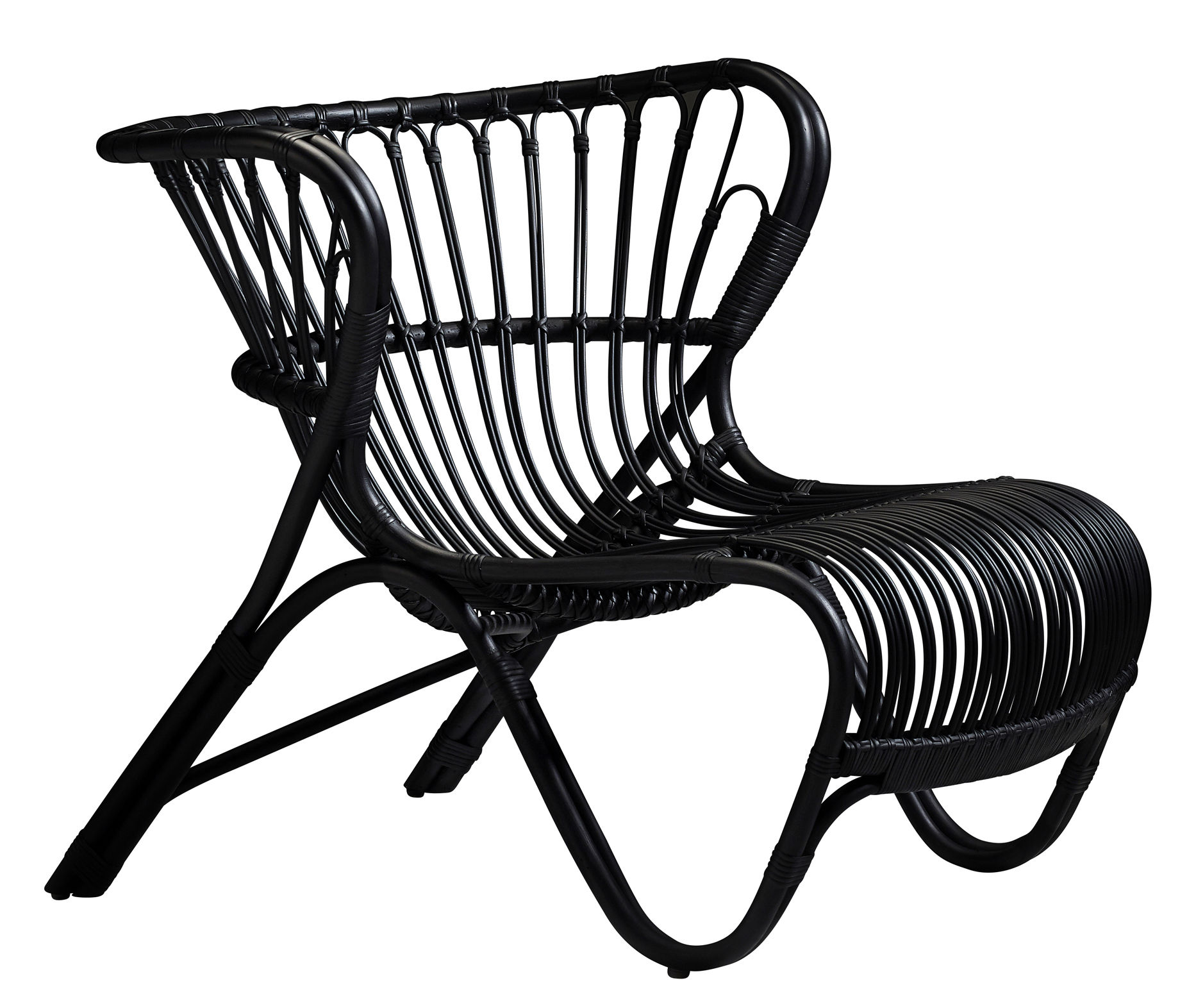 Furniture - Armchairs - Fox Lounge Armchair - Reissue 1936 by Sika Design - Black - Rattan