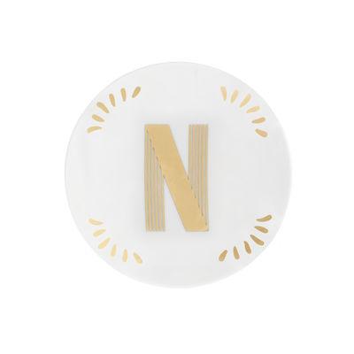 Arts de la table - Assiettes - Assiette à mignardises Lettering / Ø 12 cm - Lettre N - Bitossi Home - Lettre N / Or - Porcelaine