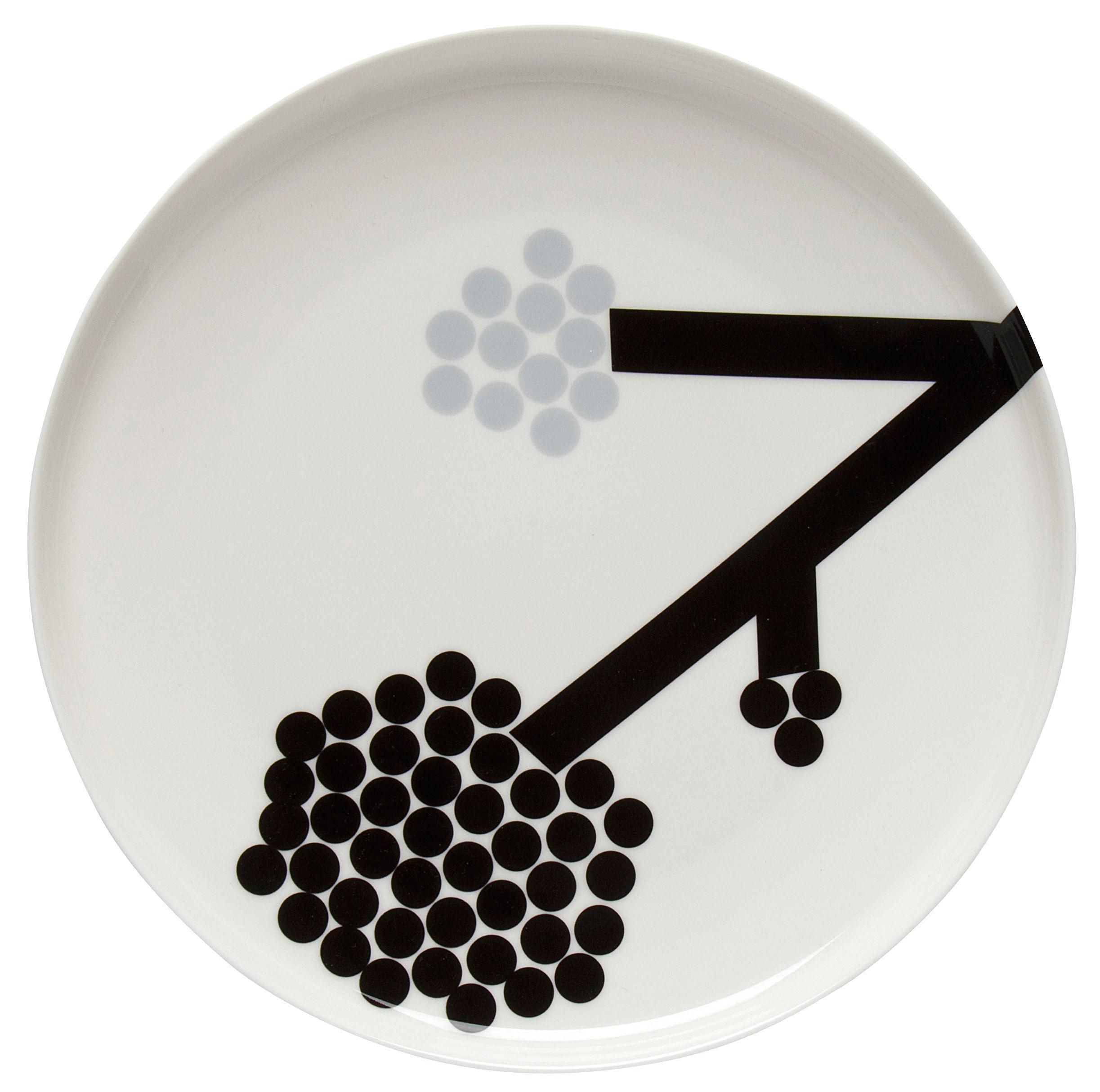 Arts de la table - Assiettes - Assiette Hortensie / Ø 25 cm - Marimekko - Hortensie / Noir & gris - Grès
