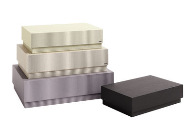 Decoration - Decorative Boxes - Desktop Box - / Set of 4 - L 32 cm by Hay - Striped / Multicoloured - Cardboard