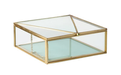 Decoration - Decorative Boxes - Box - / 16 x 16 cm - Glass & metal by & klevering - Sky blue - Glass, Metal