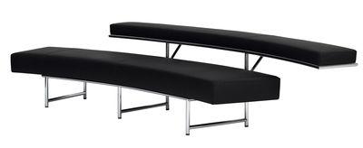 Mobilier - Canapés - Canapé droit Monte Carlo / L 280 cm - ClassiCon - Cuir noir - Acier chromé, Cuir