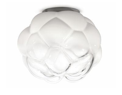 Lighting - Ceiling Lights - Cloudy Ceiling light by Fabbian - Ø 26 cm / White & transparent - Aluminium, Blown glass