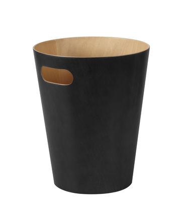 Image of Cestino per la carta Woodrow - / Cestino di legno - Ø 23 x H 28 cm di Umbra - Nero/Legno naturale - Legno