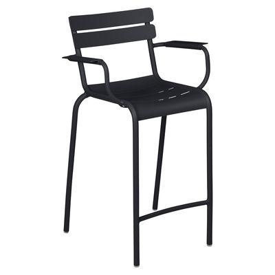 Chaise de bar Luxembourg Bridge / H 69,5 cm - Accoudoirs - Fermob noir en métal