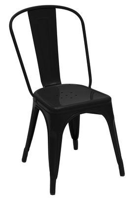 Chaise empilable A / Acier - Couleur brillante - Tolix noir brillant en métal