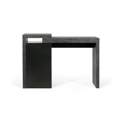 Furniture - Office Furniture - Chicago Desk - / Console - L 119 x D 35 cm / Concrete effect & storage by POP UP HOME - Grey concrete effect / Black - chipboard panels, MDF, Melamine