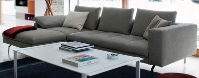Möbel - Sofas - Bruce Ecksofa / L 298 cm x T 104/172 cm - Zanotta - Schattierungen von Weiß, Blau und Schwarz - Gänsefeder, Gewebe, poliertes Aluminium, Polyurethan-Schaum