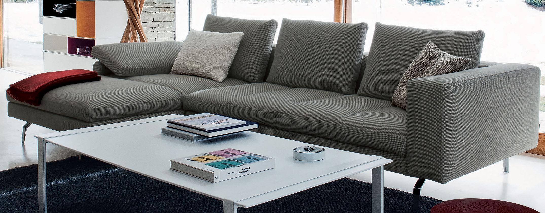Möbel - Sofas - Bruce Ecksofa / L 298 cm x T 104/172 cm - Zanotta - Schattierungen von Weiß, Blau und Schwarz - Gewebe, Plumes d'oie, poliertes Aluminium, Polyurethan-Schaum