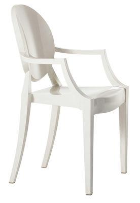 Fauteuil empilable Louis Ghost / Polycarbonate - Kartell blanc en matière plastique