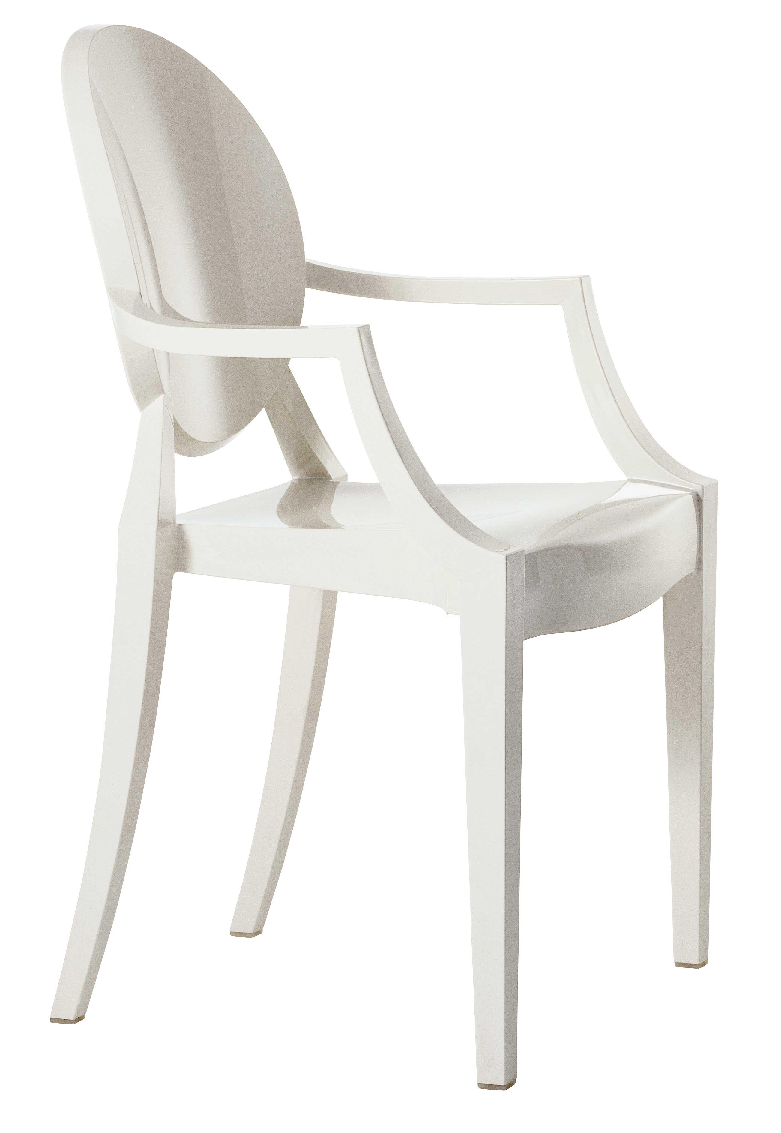 Mobilier - Chaises, fauteuils de salle à manger - Fauteuil empilable Louis Ghost / Polycarbonate - Kartell - Blanc opaque - Polycarbonate