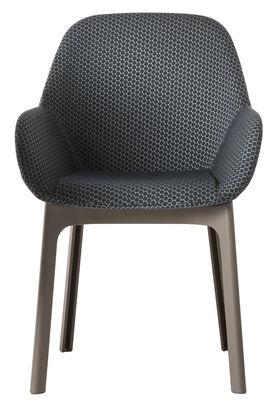 Mobilier - Chaises, fauteuils de salle à manger - Fauteuil rembourré Clap / Tissu & pieds plastique - Kartell - Graphite / Pieds tourterelle - Polyuréthane, Technopolymère thermoplastique, Tissu