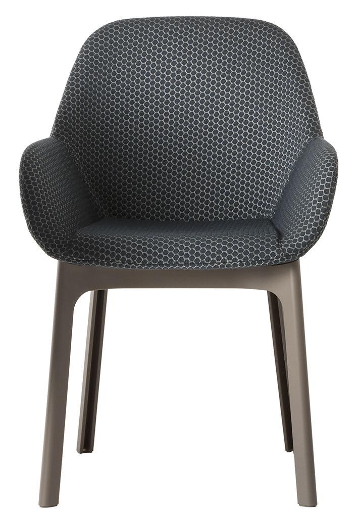 Möbel - Stühle  - Clap Gepolsterter Sessel / mit Stoffbezug - Kartell - Graphitschwarz / Stuhlbeine taubengrau - Gewebe, Polyurhethan, Technopolymère thermoplastique