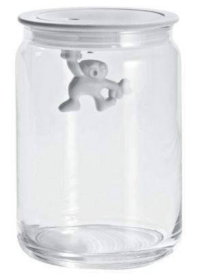 Tischkultur - Boxen und Töpfe - Gianni a little man holding on tight hermetisch verschließbares Glas luftdicht - 90 cl - A di Alessi - Weiß / 90 cl - Glas, thermoplastisches Harz
