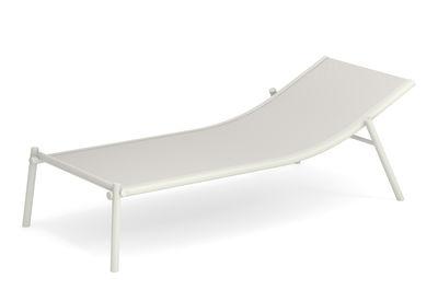 Outdoor - Sedie e Amache - Lettino da sole Terramare - / Fisso - impilabile di Emu - Bianco - alluminio verniciato, Tessuto tecnico