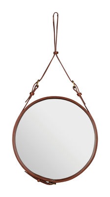 Mobilier - Miroirs - Miroir mural Adnet / Ø 45 cm - Réédition 50' - Gubi - Marron - Cuir