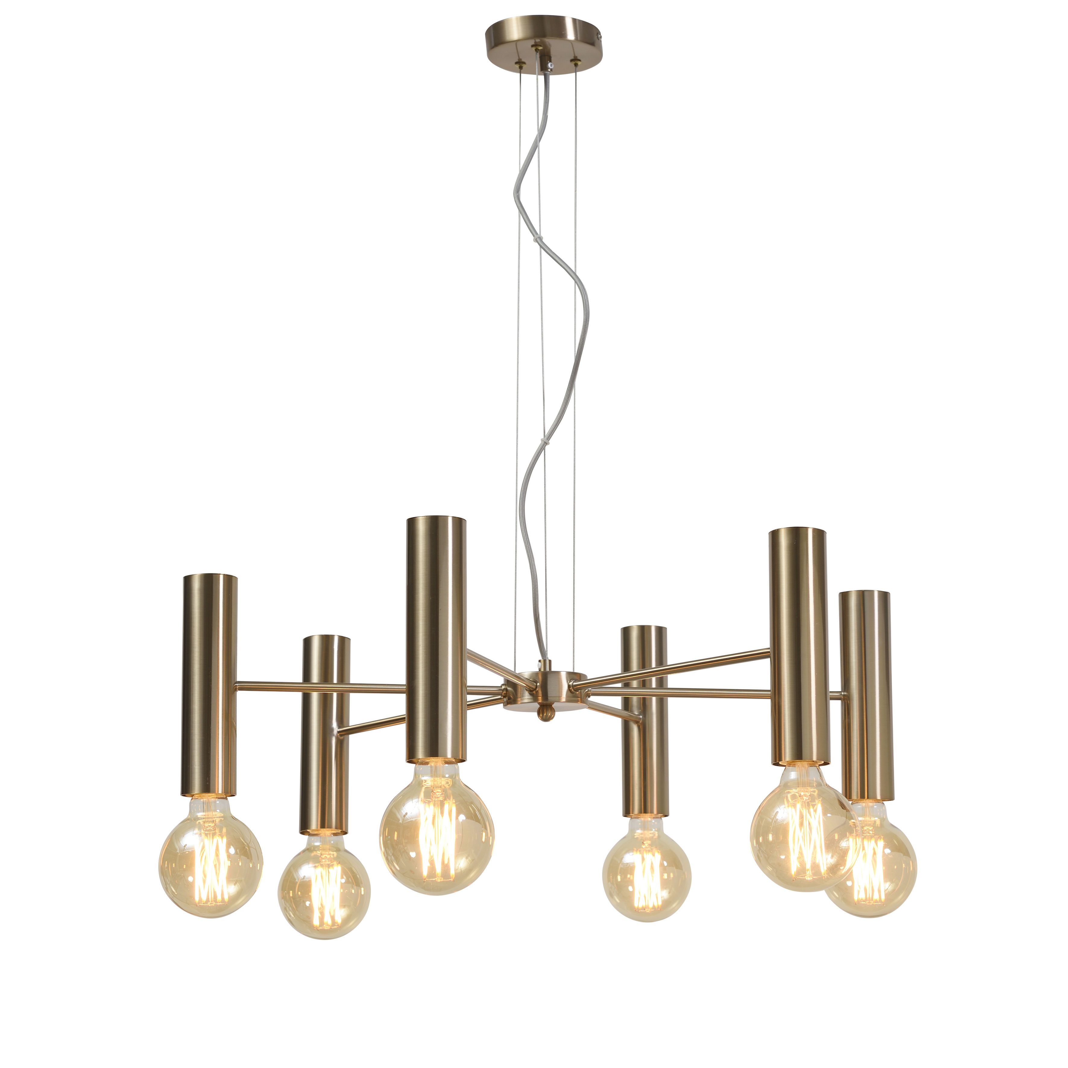 Lighting - Pendant Lighting - Cannes Multi Large Pendant - / 6 arms - Metal / Ø 70 cm by It's about Romi - Gold - Iron