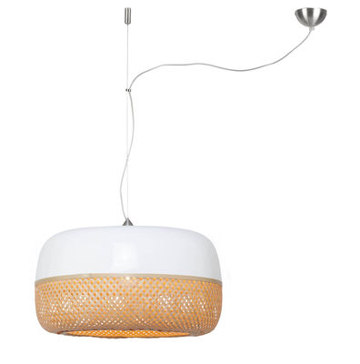 Lighting - Pendant Lighting - Mekong Pendant - / Bamboo - Ø 60 x H 33 cm by GOOD&MOJO - Bamboo & white - Natural bamboo, Painted bamboo