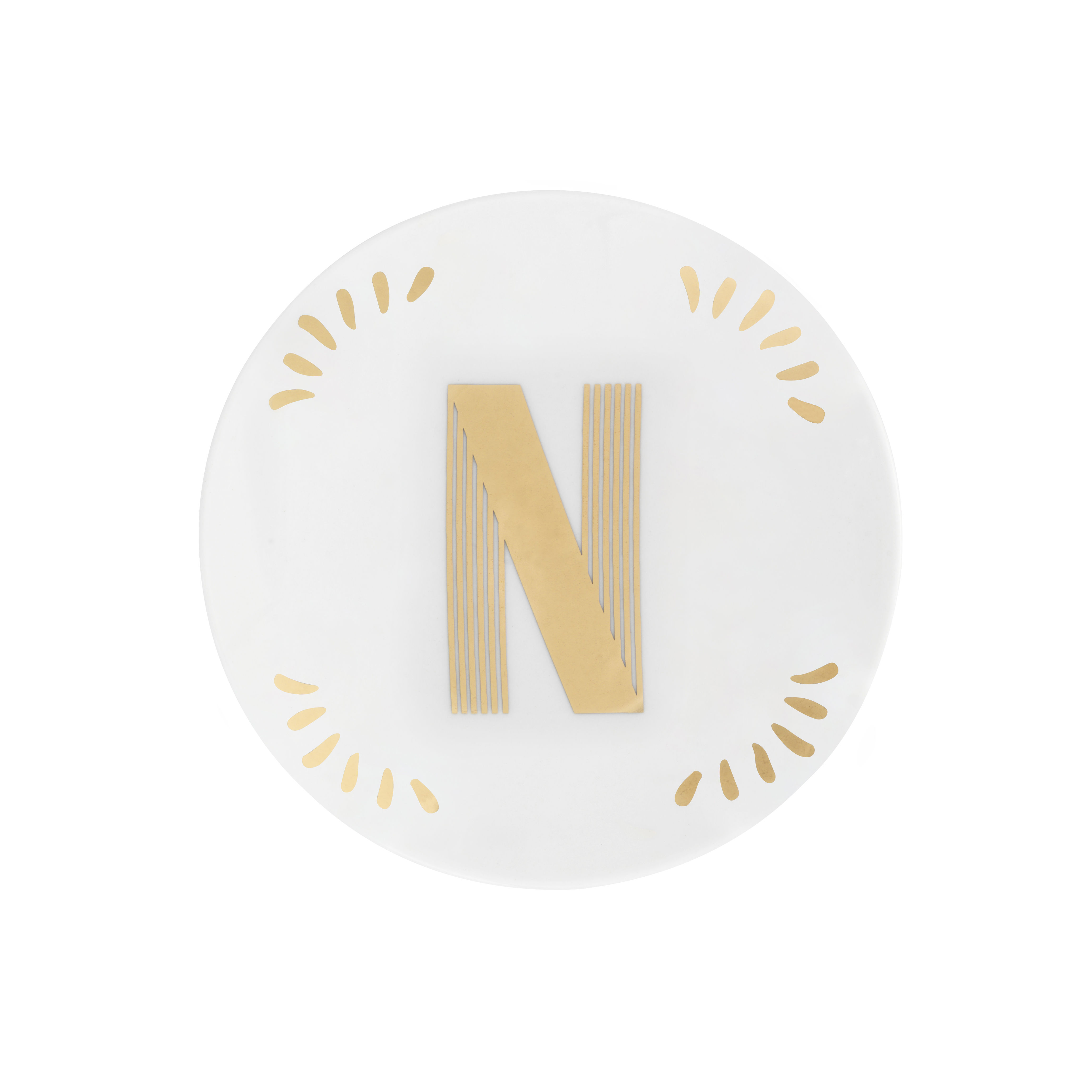 Tableware - Plates - Lettering Petit fours plates - Ø 12 cm / Letter N by Bitossi Home - Letter N / Gold - China