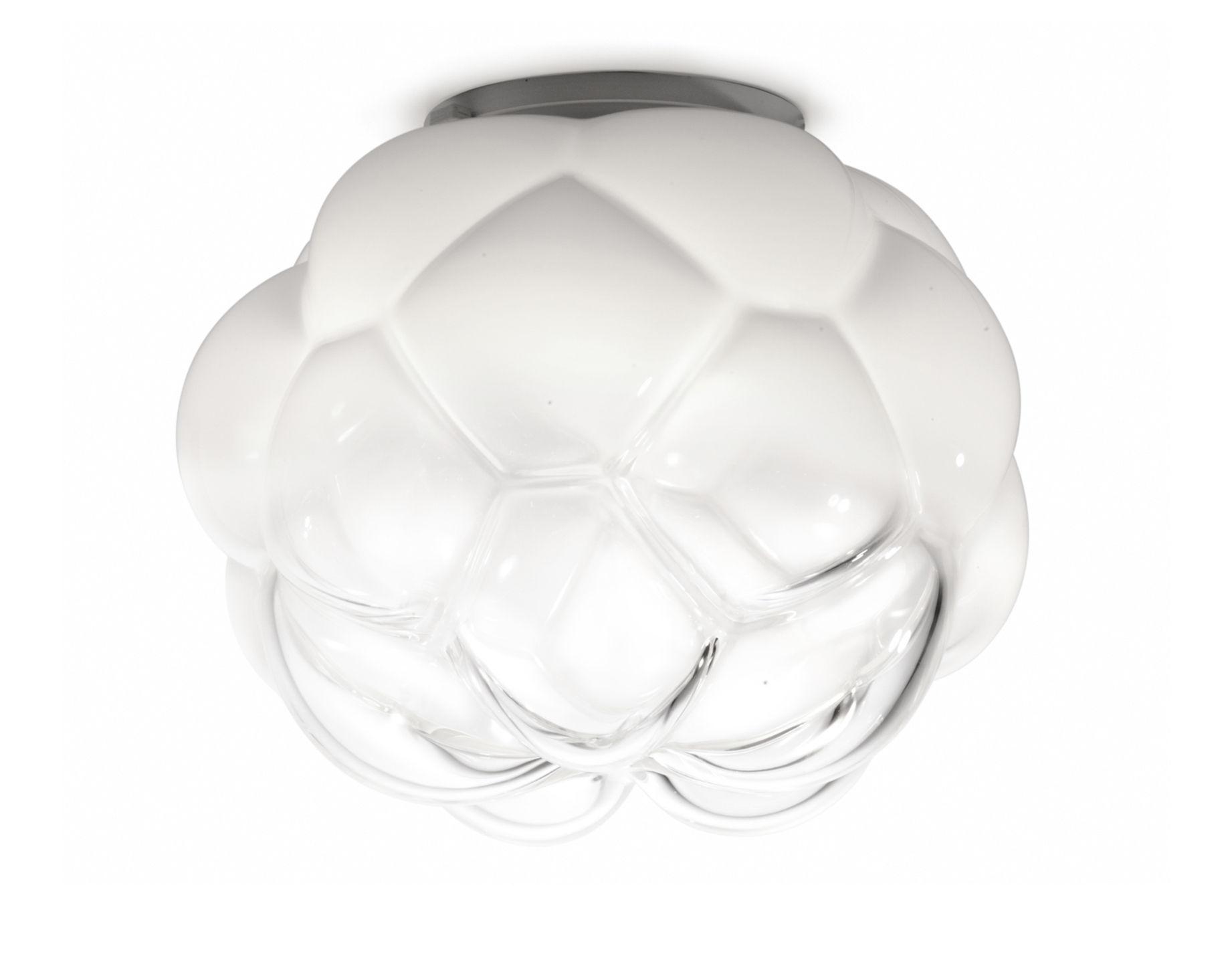 Luminaire - Plafonniers - Plafonnier Cloudy LED / Ø 26 cm - Fabbian - Ø 26 cm / Blanc & transparent - Aluminium, Verre soufflé