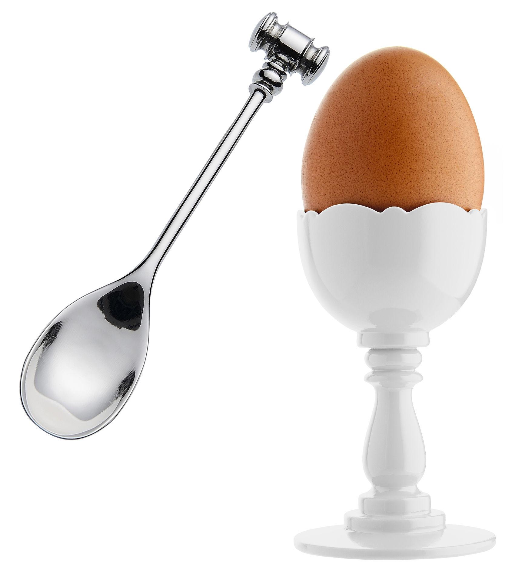 Tavola - Portauova - Portauovo Dressed - / PMMA - Con cucchiaino da uovo di Alessi - Bianco / Cucchiaino in acciaio - Acciaio inossidabile, Resina termoplastica