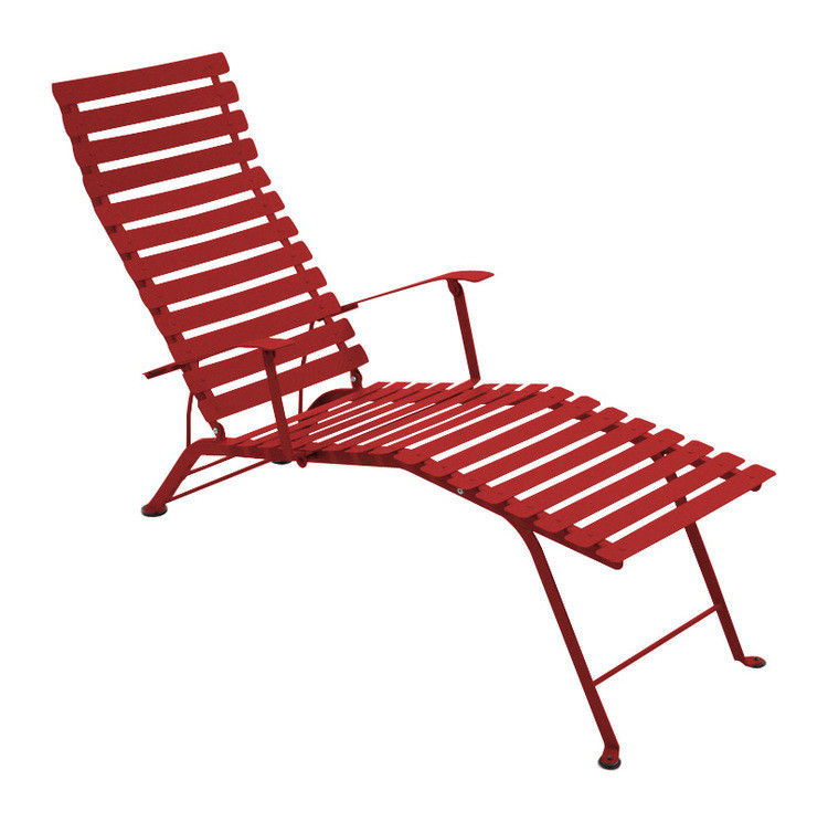 Outdoor - Sun Loungers & Hammocks - Bistro Reclining chair by Fermob - Poppy - Lacquered steel