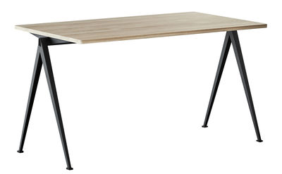 Furniture - Office Furniture - Pyramid n°01 Rectangular table - / 140 x 65 cm - Re-issue 1959 by Hay - 140 x 65 / Light oak & black - Lacquered steel, Oak