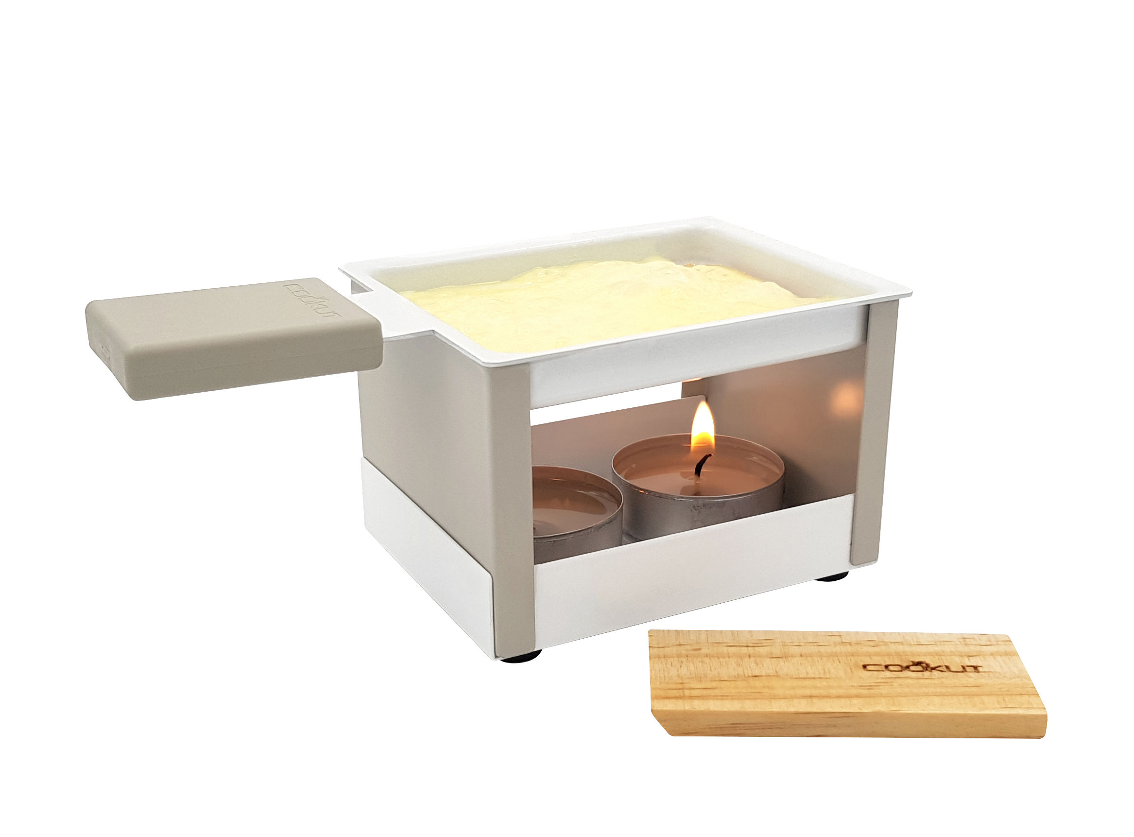 Kitchenware - Kitchen Equipment - Yeti Set - / For Raclette by candlelight - 1 person by Cookut - Grey - Acier revêtu anti-adhérent, Nylon, Wood