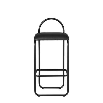 Arredamento - Sgabelli da bar  - Sgabello alto Angui Small - / H 65 cm - Pelle di AYTM - Pelle nera / Struttura nera - Espanso, Ferro laccato, Pelle