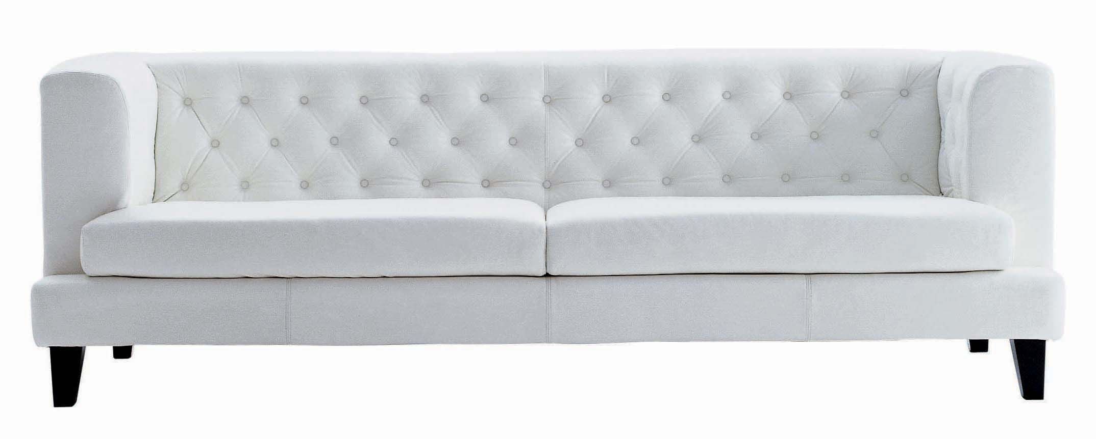 Möbel - Sofas - Hall Sofa 3-Sitzer,  Lederausführung - Driade - Leder kapitoniert weiß - Holz, Leder