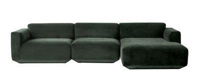 Möbel - Sofas - Develius Sofa modulierbar / 3 Module - L 310 cm - &tradition - Waldesgrün - Velours - Bois - Mousse haute résilience - Mousse polyester - Métal
